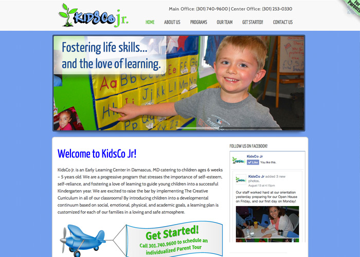 KidsCo Junior Early Learning Web Design