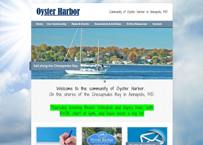 Community of Oyster Harbor Web Design